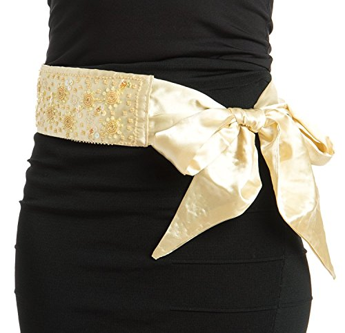 Detail Sash - Womens Elegant Bright Bead Detail Sash Yellow Medium/Large