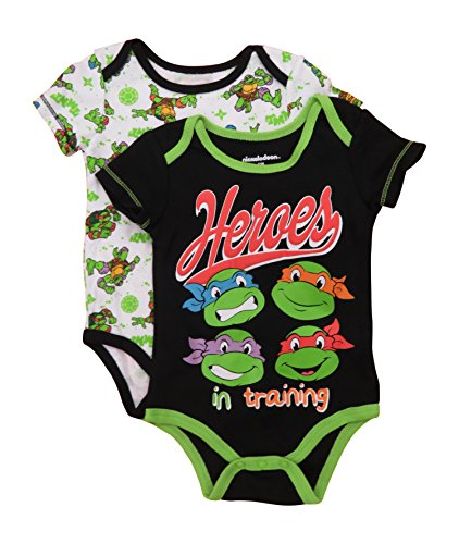 Tmnt Ninja Turtles HERO IN TRAINING Baby 2 Pack Bodysuit Set (Ninja Turtle Onsie)