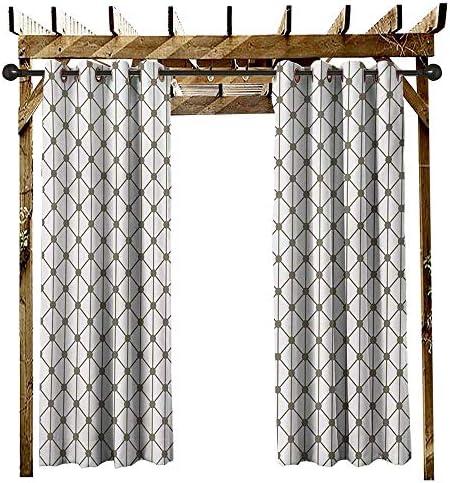 leinuoyi - Kit de Cortinas para Exteriores con diseño de Rayas geométricas y Diamantes, para Patio, Color Verde y Blanco (72 x 96 Pulgadas): Amazon.es: Jardín