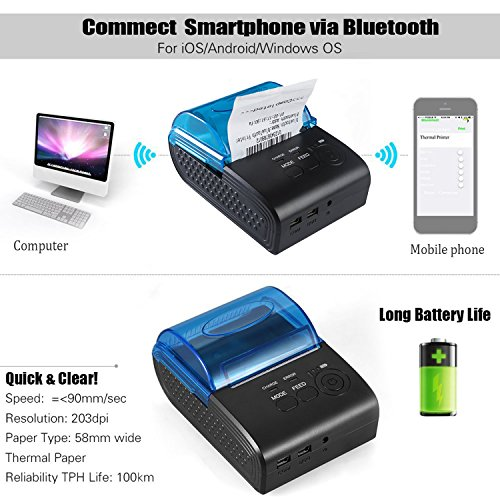 MinGz Thermal Receipt Printer,Portable Personal Printer Mini Wireless Bluetooth Printer for iOS and Android Systems,58MM USB Thermal Printer Compatible with ESC / POS Print Commands Set Photo #4