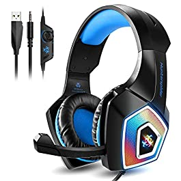 Galopar Gaming Headset, Xbox One Headset with Mic, Noise Canceling Over Ear Headphones with Surround Sound, PS4 headphone with RGB Light, Compatible with PC, PS4, Xbox One,Nintendo Switch, Mac, Laptop