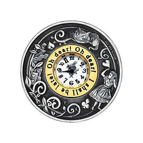 Antique Coin Mint (2015 TV Alice In Wonderland 2 oz Silver Clock Coin antique finish $2 Brilliant)