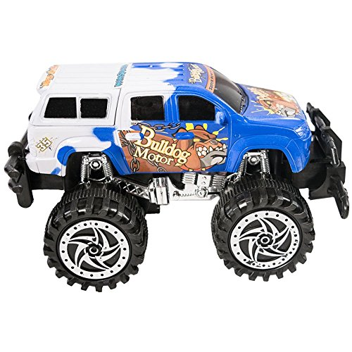 TukTek Mini Monster Truck Toy Friction Powered Super Jacked Up Push Car for Kids Boys & Girls Blue