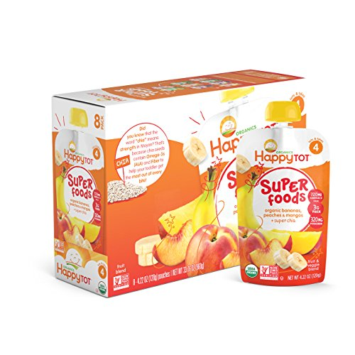 Happy Tot Organic Super Foods Pouch, Stage 4, Bananas, Peaches & Mangoes + Super Chia, 4.22oz. Pouch (Pack of 8), Mess Free Pouch for Self Feeding, Simple, Organic Ingredients