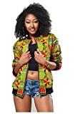 Women's Long Sleeve Vintage Traditional African Print Classic Baseball Short Biker Bomber Jacket Coat Yellow, X-Large