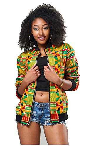 Women's Long Sleeve Vintage Traditional African Print Classic Baseball Short Biker Bomber Jacket Coat Yellow, Small