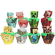 Minecraft Cupcake Toppers And Minecraft Temporary Tattoos Wither, Steve With Sword, Pig, Zombie, Creeper, Cow, Spider