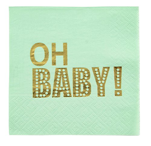 Mint Green Napkins (Cocktail Napkins - 100-Pack Baby Shower Napkins, Disposable Paper Napkins, 3-Ply, Mint Green with Oh Baby Gold Foil Print, Folded 5 x 5 Inches)