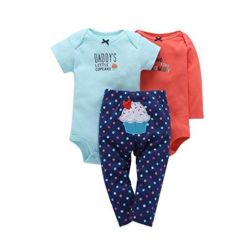 Comfydot Baby Clothes Infant Boys Bodysuits Cotton Short&Long Sleeves Onesies Pants Set 12M Blue Orange