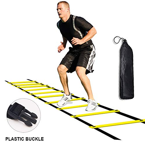 Agility Ladder for Kids Teens Speed Agility Training Ladders with Carrying Bag 12-Rung Adjustable Jumping Step Rope Exercise Outdoor Athletic Physical Training Football Sports Drills (Yellow)