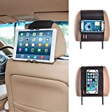 TFY Universal Smartphone & Tablet Car Headrest Mount Holder - iPad Mini 4 & iPhone X / 8 / 8 Plus / 6 / 6S (Plus) - 7 / 7 Plus - Samsung S7 / S7 Edge - Nexus 5 / 7 / 10 - HUAWEI Mate 9