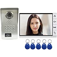 AMOCAM Video Door Phone System,Full Aluminum Alloy Waterproof IR Night Vision Camera, 9 LCD Monitor, Wired Video Intercom Doorbell Kits, Support RFID Keyfobs,Password Unlock
