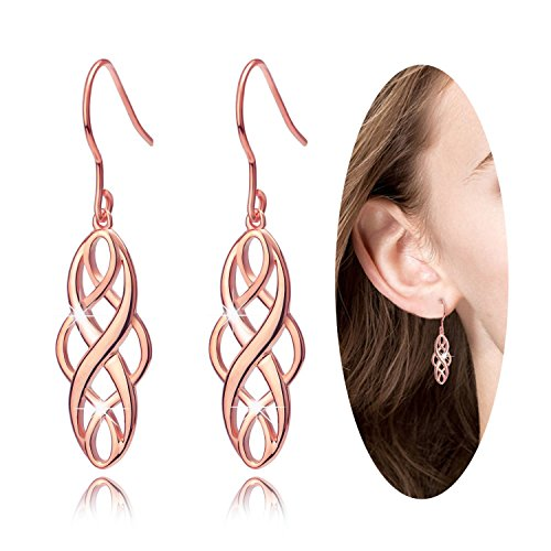 Celtic Knot Infinity Iove long Fishhook Hook Drop Dangle Earrings, Good Luck Ear Hook Rose Gold Earrings,Elegant Gorgeous lovely, Very Comfortable to Wear,Received Many Compliments, for Women Girls