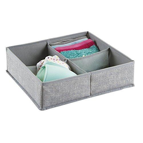 mDesign Aufbewahrungsbox aus Stoff für Schrank oder Kommodenschubladen, für Unterwäsche, Socken, BHs, Strumpfhosen, Leggings - 4 Fächer, Grau
