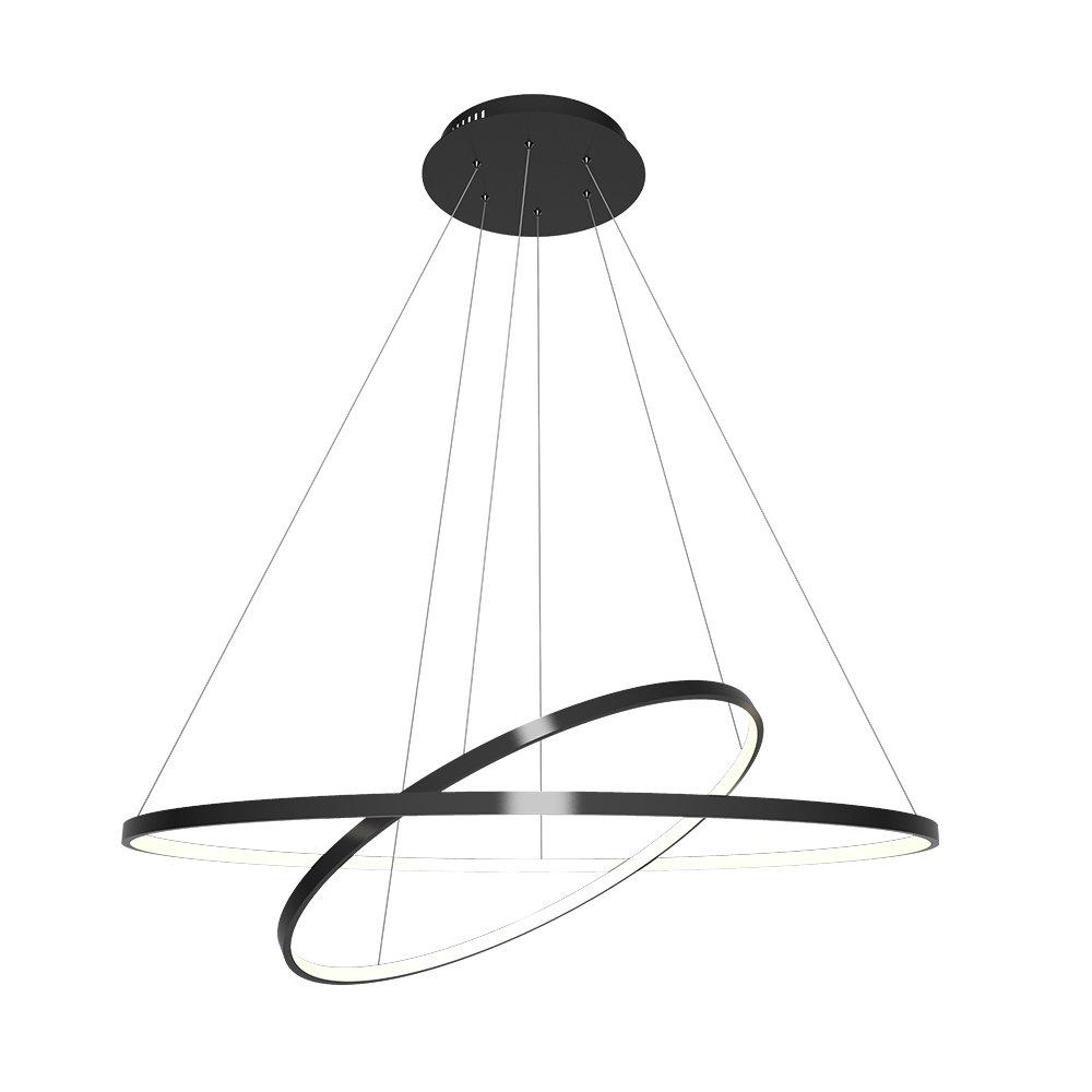 Moderne Pendelleuchte Led Stilvoll Ring Design aus Aluminium 60+40cm, Warmweiß