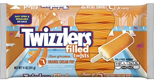 Licorice Filled - Twizzlers Orange Cream Pop Flavored Filled Twists, 11 oz