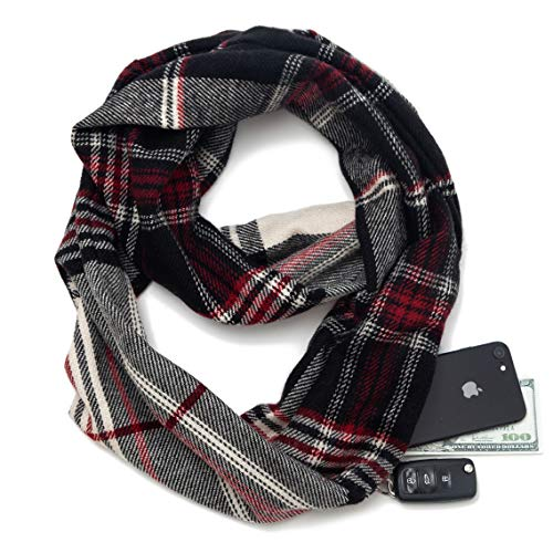 Infinity Scarf Wrap with Zipper Pocket, Best Travel Infinity Scarves for Women ()