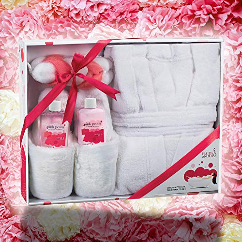 Home Spa Gift Basket Luxury Bathrobe & Slipper Spa Box for Women - Pink Peony Scent - Luxury Bath & Body Set For Women… 5