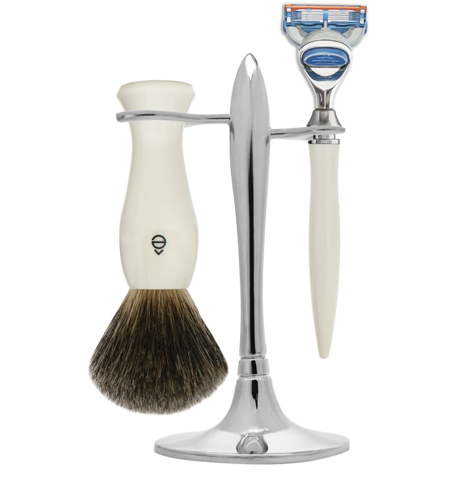 eShave Nickel Plated 5 Blade T Shave Set, White