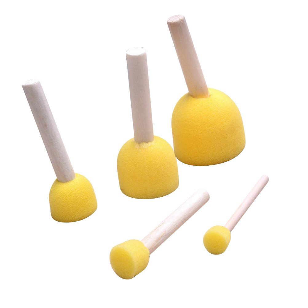 Paint Tools for Kids WAF 20-Pieces Assorted Size Round Sponges Brush Set