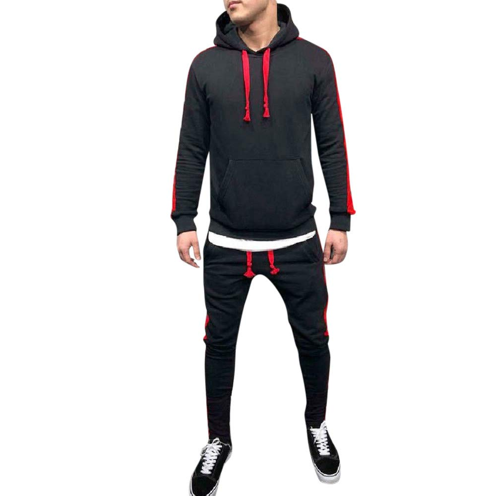 Limsea Men's Autumn Winter Patchwork Hoodie Sweatshirt Top Pants Sets Suit Tracksuit(Black,M)