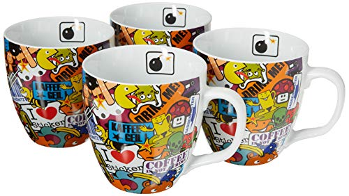 Konitz Sticker Bombing Mugs, Set of 4