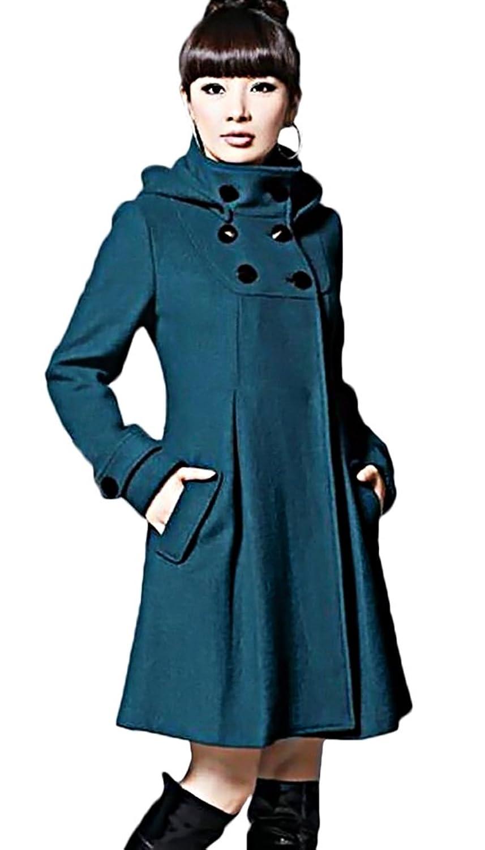 MTRNTY Women's Warm Trendy Slim Fit Hooded Jacket Wool Coat C22, Blue Small