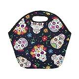 Feddiy Mexican Sugar Skull Insulated Lunch Tote Bag Reusable Neoprene Cooler, Day of the Dead Portable Lunchbox Handbag for Men Women Adult Kids Boys Girls