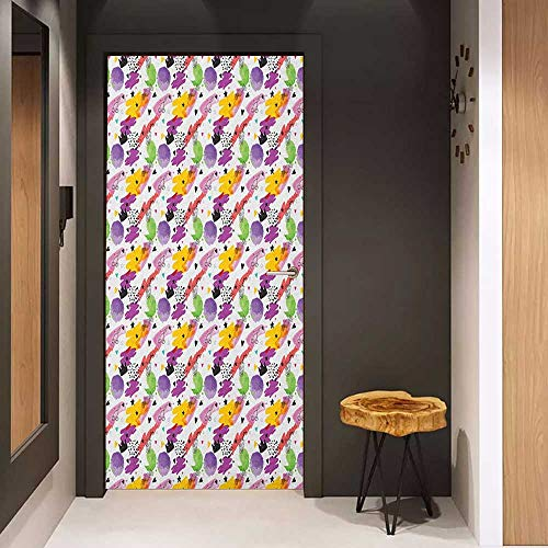 Onefzc Soliciting Sticker for Door Pastel Splash Art Style Doodling Pattern with Cocktails Crowns Candies Moon Stars Cherries Mural Wallpaper W23.6 x H78.7 Multicolor