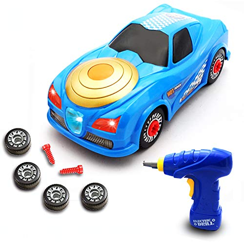 ORIVAST Take Apart Toys for Boys – STEM Build Your Own Race Car Toys for 3,4,5,6,7 Year Old Boys with Electric Drill…