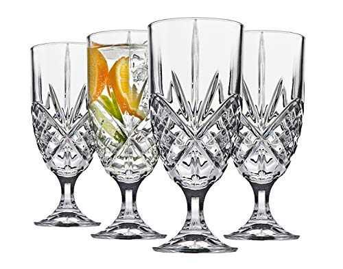 (Crystal Water Goblets, 14 Ounce Elegant Crystal Glasses for Water, Juice, Beer, Wine, and Cocktails, Iced Beverage Glassware - Set of 4)