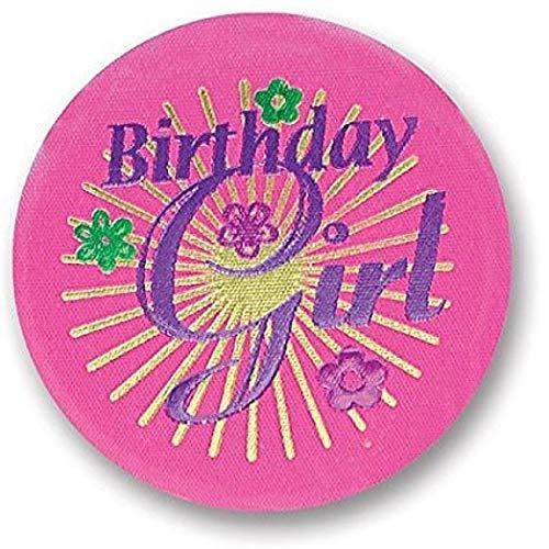 Birthday Girl Satin Button With Violet Print 2
