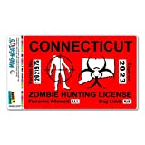 Connecticut CT Zombie Hunting License Permit Red - Biohazard Response Team MAG-NEATO'S Automotive Car Refrigerator Locker Vinyl Magnet