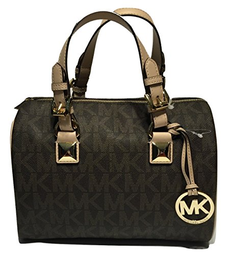 Michael Kors MD Grayson Satchel Handbag Signature MK Brown PVC with removable Cross Body Shoulder Strap (Bag Michael Kors Cross)