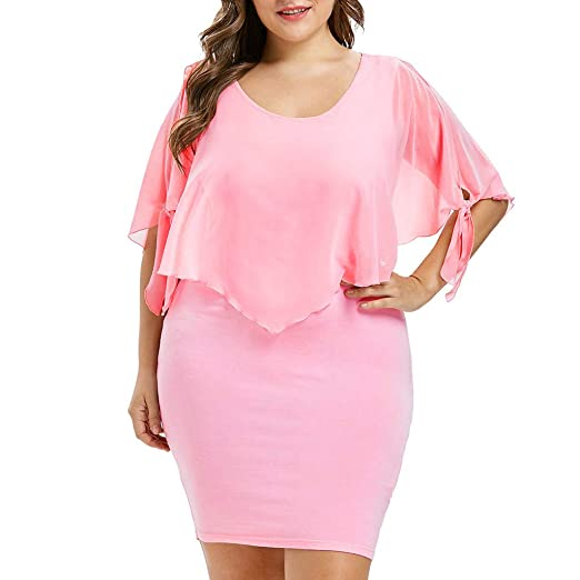 Amazon.com: Xiarookp Fashion Women Plus Size Dress O-Neck ...