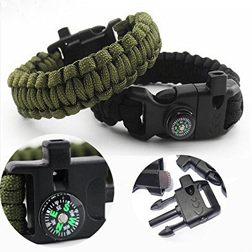Multifunctional-Paracord-BraceletModroid-Fire-StarterCompass-Whistle-Strand-Parachute-Cord-Outdoor-Survival-Kit-Green
