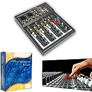 YaeCCC Mic Mixer Audio Sound Mixing Board DJ Mixer Mixing Console for Karaoke with USB Slot