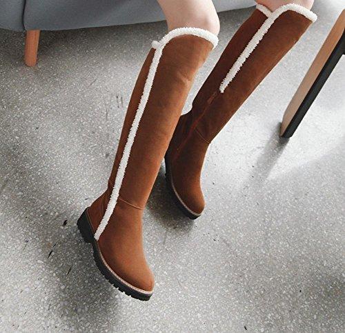 Comfort Delle Donne Carolbar Caldo Stivali Da Neve Al Ginocchio Tacco Basso Zip Giallo-marrone