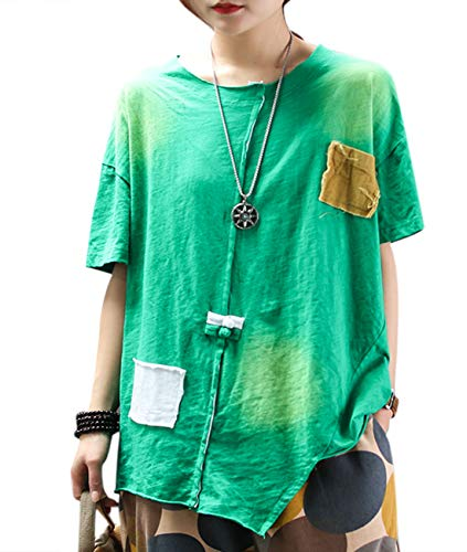 YESNO Women Casual Loose Long/Short Sleeve TEE T-Shirts Chinese Knots Decorated Asymmetric Hem Summer Tops/Pockets E99 (M, Short Sleeve Green)