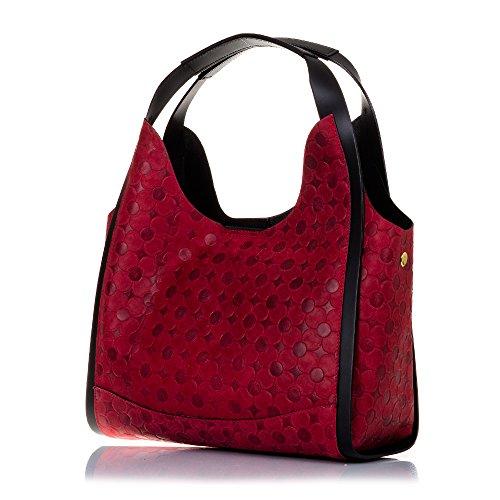 cuero ITALY Rojo MADE VERA PELLE ARTEGIANI 33x24x15 genuino mujer geométrico mujer shopping FIRENZE Bolso de grabado bag exclusivo circulos Color cm ROJO piel Asa ITALIANA Bolso IN diseño auténtica RWUq1fUv