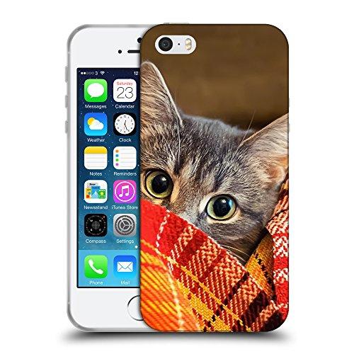Just Phone Cases Coque de Protection TPU Silicone Case pour // V00004195 Chaton dans la couverture // Apple iPhone 5 5S 5G SE