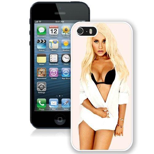 Coque,Fashion Coque iphone 5S Christina Aguilera Noir Bra blanc Screen Cover Case Cover Fashion and Hot Sale Design