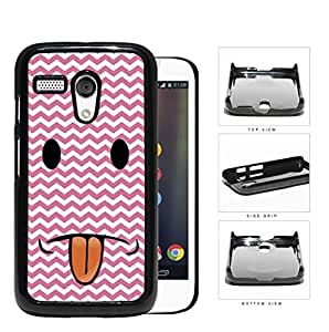Cute Funny Pink and White Chevron Smiley Face with Tongue Sticking Out Hard Snap on Phone Case Cover Motorola Moto G