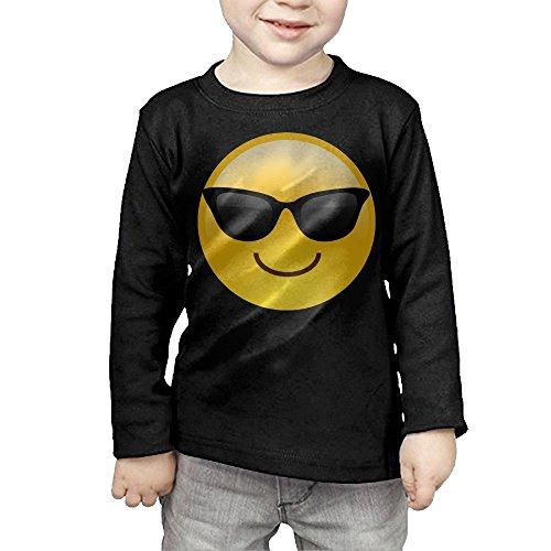 ZheuO Boys & Girls Infant Smiling Face With Sunglasses Cool Emoji Soft 100% Cotton T-Shirts Unisex Black 4 - Sunglasses Designers British