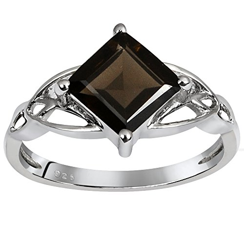 Orchid Jewelry Princess Cut Smoky Quartz 925 Sterling Silver Ring for Women and Girls, Solitaire, Perfect for Engagement, Anniversary, Mother (Cut Smoky Quartz Solitaire Ring)