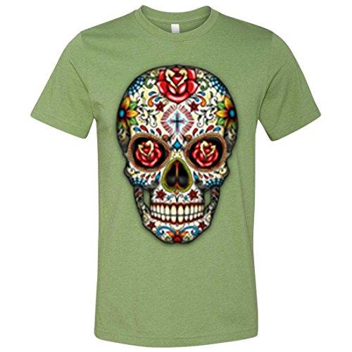 Male Sugar Skull Face Paint (Dia De Los Muertos Sugar Skull Mens Fitted Tee - Heather Green)