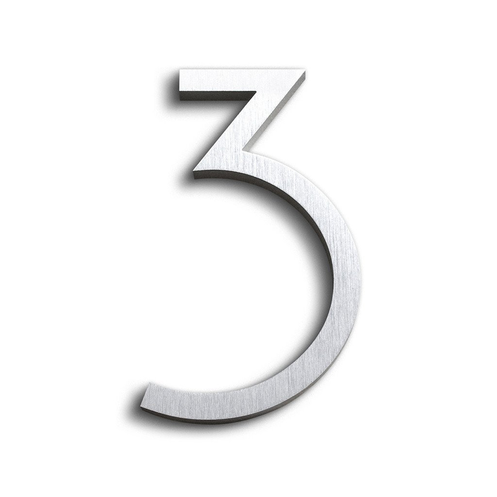 Modern House Number Aluminum Contemporary Font Number Three''3'' 6 inch