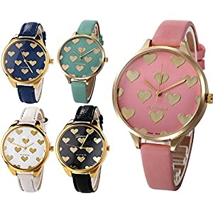 Yunanwa 5 Pack Wholesale Women's Heart Painted Leather Watches Assorted Platinum Wristwatches