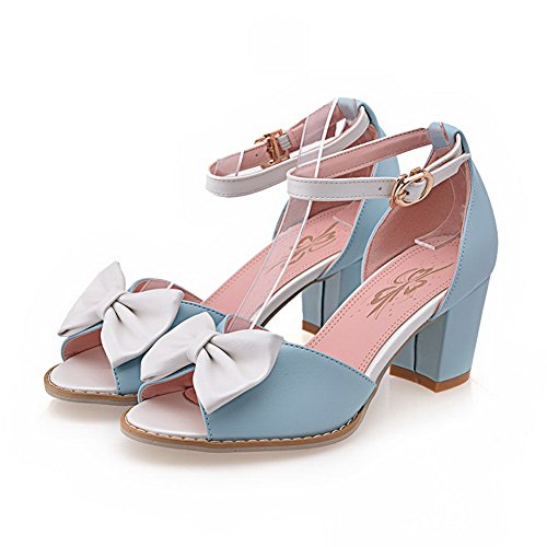 Allhqfashion Femmes Pu Assorti Couleur Boucle Ouverte Toe Chaton-talons Sandales Bleu