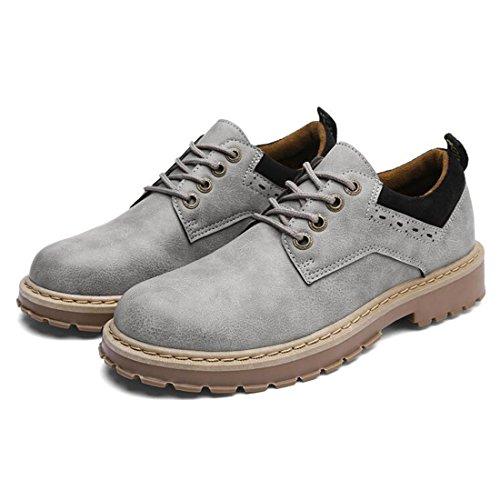 ZHONGST Stivali da Uomo Martin Primavera Scarpe Casual Retro Scarpe da Lavoro Britanniche Gray
